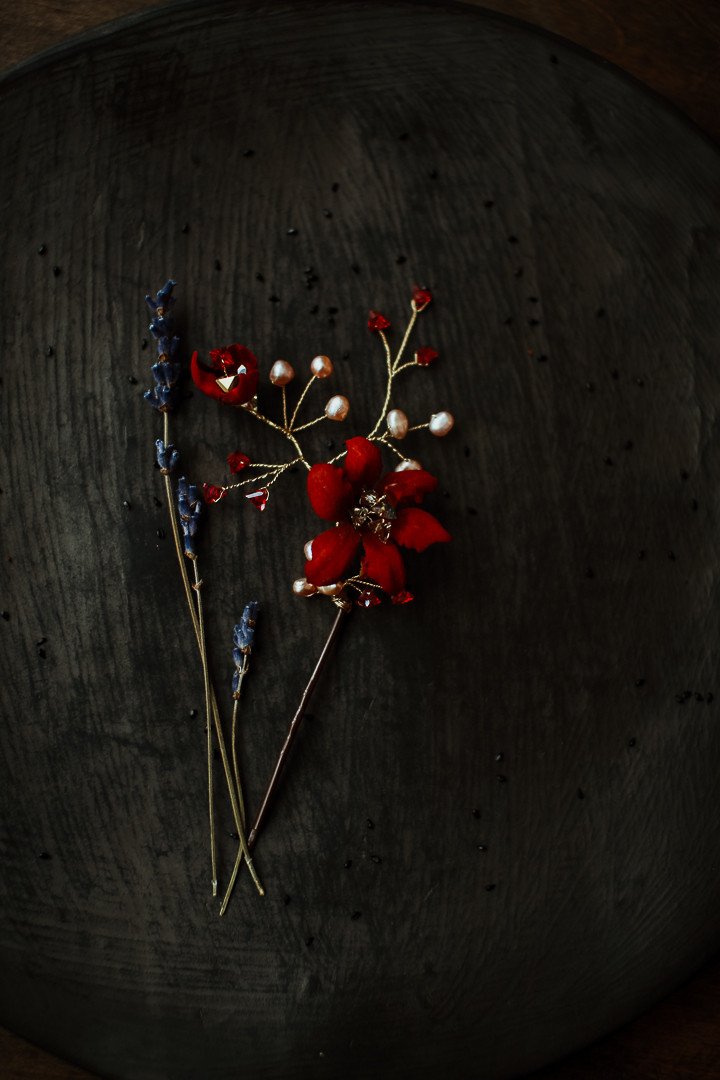 BURGUNDY silk blossom hair pin